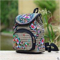 backpacks children - Embroidery Backpack new ethnic style embroidery bag embroidered canvas child Ladies Bag Backpack backpack Backpack cylindrical