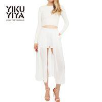 Wholesale YIKUYIYA New Fashion Women Skirt Summer Euramerican Style Solid White Slim Mid calf Chiffon Split Skirt