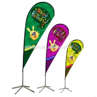 advertising flag stand - Full color printing double side advertising flag flying banner beach flag feather falg Out door Tear drop beach flag Banner Stand