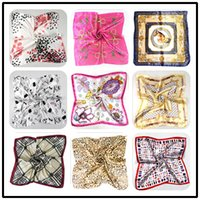 Wholesale 50 cm Women Silk Square Scarves Stripe Plated Magic Satin Scarf Lady Small Kerchief colors Scarf Fashion Printed