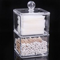 Wholesale Square Cosmetic Storage Boxes caixa organizadora Transparente layer Acrylic Storage Box for Lipstick Cotton pad