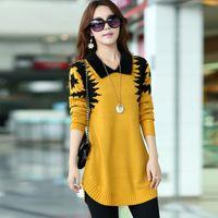 Wholesale Turn down collar sweater dress women plus size S XXXL pullover medium long print basic slim ropa mujer wool cashmere sweater