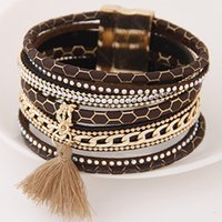 Wholesale 2016 Tassel Rhinestone Magnetic Buckle Bracelet Wide Hot Bangle Crystal Multi layer Leather Wrap Wristband Women All match Fashion Charming