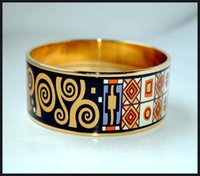 Wholesale Klimt Series K gold plated enamel bangle bracelet for woman Top quality bracelets bangles width mm Fashion accessories jewelry