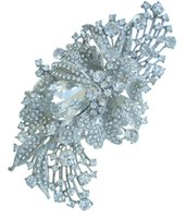 Wholesale 4 quot Pretty Bridal Flower Brooch Pin w Clear Rhinestone Crystals EE04797C1