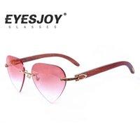 al por mayor sol del corazón-Diseñador de la marca de fábrica de Carter Búfalo Cuerno lente del corazón Rimless gafas de sol marco de alta calidad Hombres gafas de sol de las mujeres con el logotipo de la caja original