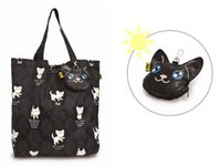 Cat print pliage sac réutilisable shopper sac fourre-tout en toile de promotion de la femme créative sac en cadeau