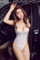 Cheap One Piece Sexy Shaping Swimwear High Cut Swimsuit See-through Club Erotic Lingerie Car Models Sexy Wear Crotch Open Close