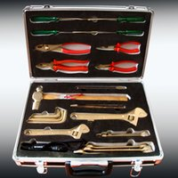 aluminium tool boxes - Non sparking combination tools set for gas station Explosion proof Aluminium bronze hand tool box