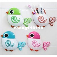 Wholesale Cute Bird Sucker Toothbrush Holder Bathroom Accessories Household Items Toothbrush Holder Wall Bathroom Products Bathroom Set Colors