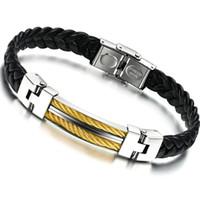 Wholesale Korean fashion retro leather cord bracelet Men s titanium steel gold charm bracelet