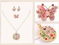 Wholesale Gold plating crystal jewelry sets of national wind Chinese retro cloisonne craft butterfly flower type jewelry set Necklace Earrings Ring