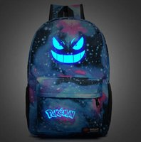backpack animation - Hot Backpack Poke Go Gengar Pikachu Galaxy Luminous Printing Backpack Animation School Bags for Teenagers Mochila