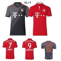 Wholesale 2016 Thai quality Bayern Munich Soccer Jerseys LEWANDOWSKI uniform MULLER ROBBEN COSTA Home away kit survetement Football shirts