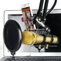 Wholesale Desktop Table Clamp Clip Tripod Folding Microphone Stand Wind Screen Pop Filter Mask Shied Computer Dynamic Handheld Mic Holder