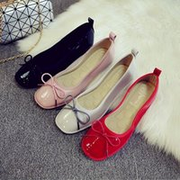 ballet height - 2016 Women Flat Shoes Shallow Mouth Soft soled Shoes Square Head Cone Shoes Shallow Mouth Bow Ballet Flat Shoes Boat Shoes