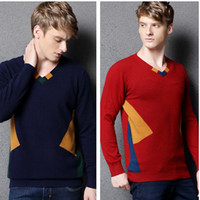 Wholesale Patchwork V Neck Style Cashmere Sweater Pullover For Men Autumn Winter Knitting Outwear Casual Cashmere Pullover Sweater Wraps js023