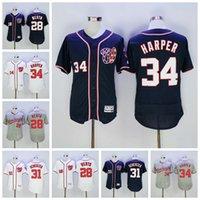 Wholesale Nationals Bryce Harper Cool Baseball Jerseys With th sleeve patch Cool Base Authentic Baseball Shirts Washington Jerseys