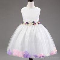 teen clothes - Flower Girl Dresses Sleeveless Chiffon Rose Petal Dress Wedding Bridesmaid For Baby Children Toddler Teen Girls Princess Tulle Kids Clothing