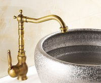 Wholesale 2016 new style retro brass antique kitchen sink basin faucet mixed faucet copper rotary single hole faucet