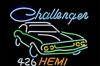 Neon Bulbs & Tubes auto glass dealers - NEON SIGN BIG Dodge Challenger RT Hemi AUTO DEALER Custom Store Display Beer Bar Pub Club Lights Signs Shop Decorate Real Glass Tube Bulbs