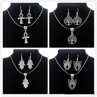 anka jewelry - High Quality Leather Chain Anka corss Living tree of life Owl Palm Pendant Necklace and Earrings Jewelry Sets For Women
