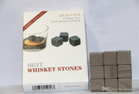 Wholesale whisky stones with velvet bags and gift box beer stone cm whiskey ice stone whiskey stones Physical Cooling Cooler by DHL