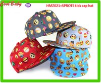 Wholesale Crochet Flat Cap Pattern - New Cartoon QQ Emoji Pattern Caps Children Baseball Cap Flat Along Parental Hip hop Hats For 3-10years old Boys Kids Outdoor Sports Caps 021