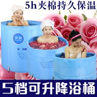 bathtub insulation - Size cm With Foot Pump and Lid Insulation Cotton Padded Can Lift Folding Tub Bath Bucket Inflatable Bathtub