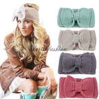 american hairband - New Women Fashion Wool Crochet Headband Knit Big Bowknot Hairband Winter Women Ear Warmer Head wrap M427