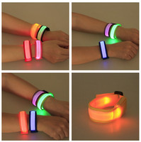Wholesale LED Flashing Wrist Band Bracelet Slap Wrap Bracelets Wrist Bands for Running Walking Cycling at Night Flashing Safe Bright Use for All Size