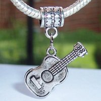 acoustic guitar charm - 50pcs Vintage Antique Silver Acoustic Guitar Music Musical Instrument Dangle Charm Bead for Silver Bracelet Fashion Jewelry