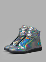 b safety - Buy Glossy Leather Quality Maison Martin Margiela Mens Casual High Top Shoes Safety And