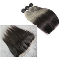 Wholesale lace Frontal Closure With Bundles A Malaysian Burmese Vietnamese Cambodian hair Straight hair weaves three part closures