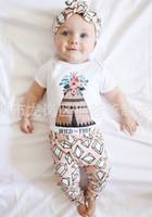 al por mayor tutús bodies-Los NUEVOS juegos lindos de los bebés de NWT 2017 fijaron los cubiertos del pañal de los onesies del mameluco del algodón de los sistemas del verano + los pantalones del Harem - el diamante floral salvaje y libre