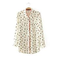 balloon blouse - LT374 New Fashion Ladies elegant fire balloon print blouses vintage turn down collar ninth sleeve shirts casual brand tops