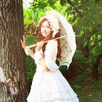 Wholesale Wedding Bridal Umbrella New Embroidery Lace Parasol Sun Umbrella High Quality Wood Handle