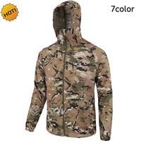 Wholesale Fall Outdoor Summer Mens Ultra Thin Camouflage Hoodies Sun Protection Tactical Miltary Quick Dry jacket Men Jungle Camo coat color