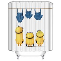 Wholesale Funny Cartoon Minions Polyester Waterproof Shower Curtains Moldproof Thicken Curtain Eco friendly Cheap Bathroom Curtains Size