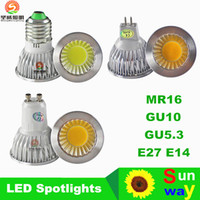Wholesale led lights W W W COB GU10 GU5 E27 E14 MR16 Dimmable LED Sport light lamp High Power bulb DC12V AC85 V CE