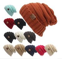 sombrero de las nuevas mujeres de CC de moda caliente fornida de gran tamaño suave de gran tamaño Cable de punto Beanie Slouchy de 12 colores