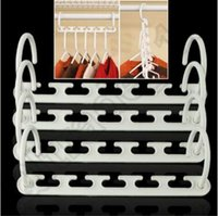 Wholesale 100set CCA4260 High Quality set Space Saver Wonder Magic Hanger Clothes Closet Organizer Hook Drying Rack Multi Function Storage Racks