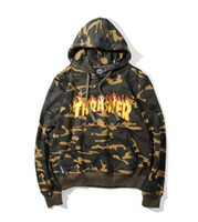 color flame - Tide THRASHER Men And Women Casual Hooded Sweater Fashion Flame Letter Camouflage Sweatshirt Loose Couples Jogging Hoodies Pullovers