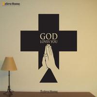 art christian - GOD LOVES YOU Word Letter Christian Religious Cross Wall Sticker Murals Wallpaper Stickers For Bedroom Home Decoration