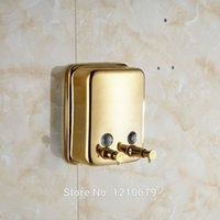 Wholesale Newly Dual Heads Bathroom Liquid Soap Dispenser ml Golden Polished Lotion Shampoo Box Holder