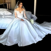 Wholesale Hot Sale New Elegant Long Sleeve Appliques Taffeta Ball Gown Princess Wedding Dresses Bridal Gowns Vestido De Noiva Bride Dress