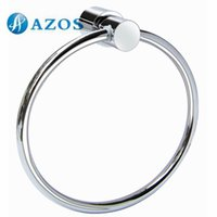 Wholesale AZOS Wall Mounted Towel Rings Chrome Polish Finish Silver Color Toilet Accessories Bathroom Shower Hardware Components GJYB8705
