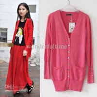 Wholesale New Fashon Womens Girl Casual V Neck Shell Buttons Knitwear Long Cardigan Sweater Tops Cardigan