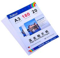 Expreso libre A3 (420 * 297 mm) 180g 20 hojas de papel fotográfico de alto brillo impermeable papel fotográfico Papel tinta, para una variedad de impresoras de inyección de tinta