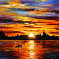 artist reproduction canvas - Leonid Afremov decoration oil painting corsica sunset famous artist reproduction